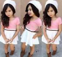 freeshipping!2015 new girl's European and USA style dress girl,pink+white baby girls dresses kids dress clothing children dress