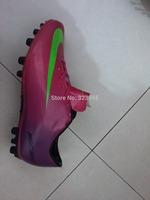 2015  Hot Soccer Mercu  Shoes Purple Hot Sale with Green Logo Free Shipping Football Shoes