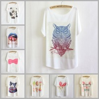 [AMY] Dog/rabbit/pig printed women/gril t shirt batwing sleeve big o-neck blouse tees plus size casual dress wholesale