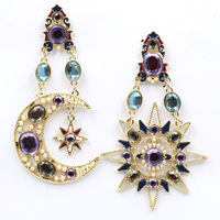 New Hot sale 2015 stud earrings star and moon pendant fashion earring jewelry wholesale