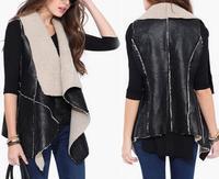 2015 Winter Clothing women Fashion Imitation PU Leather Irregular Vest Coat Jacket Coat Vest Outwear Hot Sale T22-25