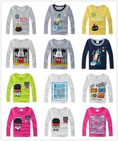 2015 Boys T-shirt Kids Tees Baby Boy t shirts Children kids girl t shirt tees Long Sleeve clothing 100% Cotton Free Shipping