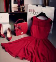 2015 New Arrival Women loose Plus Size Peincess Dress Cute Mini Sleeveless Red Dress Free Shipping YP05-27