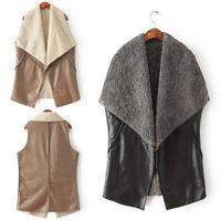 2014 New Fashion Female Collar Faux Leather No Button Vest Sleeveless Waistcoat women Coat Outerwear T22-30