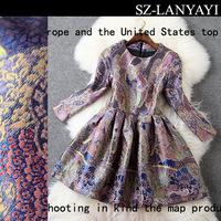 Fashion Women's Jacquard Dresses 2014 Autumn Winter Vintage Palace Style Slim Three Quarter Sleeve Dress