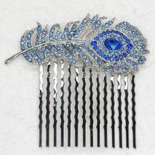 Fashion hair combs Blue Crystal Rhinestone Wedding party Hair Comb, hair & Head jewelry L041B