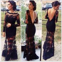 Vestido De Renda Black Flower Lace Evening Dress Liner Long Sleeve Mermaid Dress Elegant Formal Party Dresses Maxi Dress