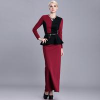 women work wear new 2015 vintage patchwork spring plus size xl xxl xxxl 3xl o-neck faux two piece bodycon long maxi dresses