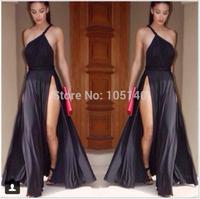 Sexy Strap Long Evening Dress Slit Side Maxi Prom Gown Cotton Dress Elegant Women Formal Party Dresses Vestidos S M L