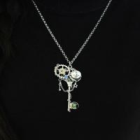 Vintage handwork punk key Pendant Man/Woman Necklaces,Gear Tibet silver jewelry Free shipping