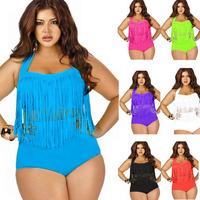 2015 Newest Summer Plus Size Tassels Bikinis High Waist Sexy Women Bikini Swimwear Padded Boho Fringe Swimsuit XL-3XL