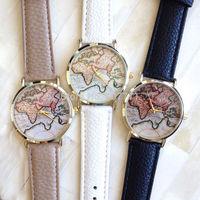 10pcs/Lot New Fashion Vintage Earth World Map Watch Retro Alloy Women Men Dress Casual Analog Quartz Wrist Watches PU Leather