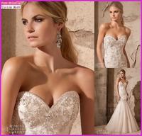 Vestidos de noiva 2015 Designer Custom Made Pink Tulle With Beads Appliques Mermaid Wedding Dresses Organza KY-038