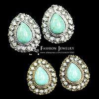 QMODE Vintage Silver Water Drop Turquoise Earring Stud 2015 New Fashion Teardrop Ear Stud Free Shipping