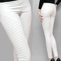 Hot Sales Summer Pencil Skinny Elastic Waist Long Trousers Front Pleated Solid White Black Red Blue S-XXL Women's Pants & Capris
