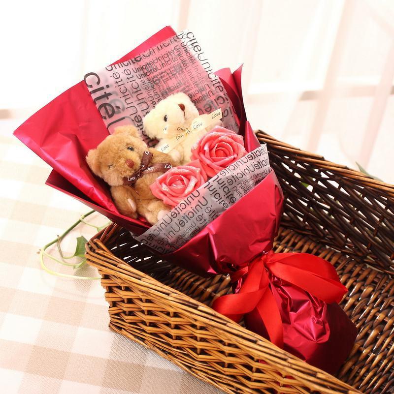 Red Roses And Teddy Bear Rose High Grade Teddy Bear