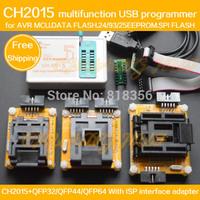 CH2015+AVR ISP Adapter TQFP32/QFP32 TQFP44/QFP44 TQFP64/QFP64 Adapter Programming AVR MCU DATA FLASH SPI FLASH EEPROM Programmer