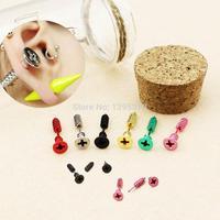 New Fashion Candy Color Piercing 3D Cross Screws Ear Stud Earrings Men/Women