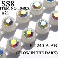 Glow in the Dark Rhinestone Banding SS8 High Quality Glass AB Single Row Chain 10yards/Lot Rhinestone Trimming