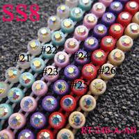 AB Crystal Trim ,SS8 Rhinestone Trim Total 29 colors 200yards/lot Mix Color, Rhinestone Banding