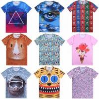 Free shipping 2015 new women summer print short-sleeved T-shirt thin neck T-shirt casual female 3D hedging short-sleeved T-shirt