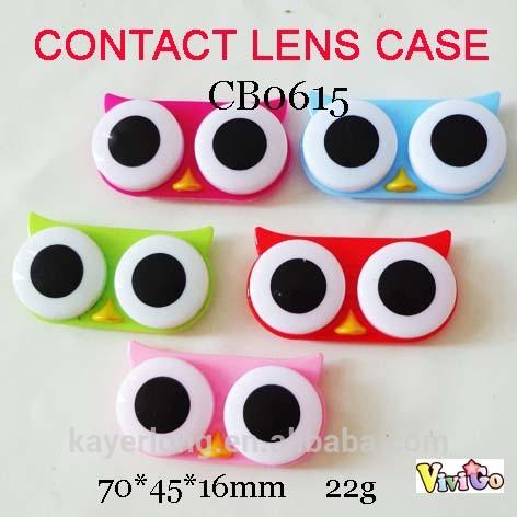 free shipping CB0615 popular cartoon big eye owl cartoon contact lens case 10PCS/LOT(China (Mainland))