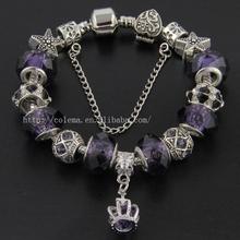 Elegant Styles Murano Glass Beads Charm Bracelet Fits Pandora Style Cuff Bracelets Jewelry VRT30