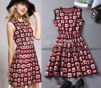 Women Casual Fashion Summer Plaid Sleeveless Dress Elastic Waistline 2015 New Patchwork Dress