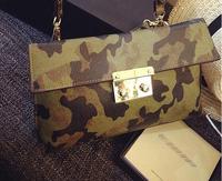 The latest European &American style gold hasp camouflage envelope handbag shoulder messenger bag