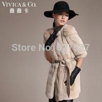 2015 Hot sale Women rex rabbit fur Jacket Coat with Leather belt high quality Winter Vintage warm Outwear