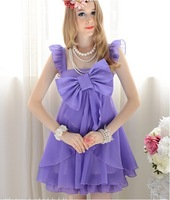 Women Casual Fashion Cute Sweet Look Summer Bowl Decorated Dress Puff  Sleeveless Solid Quality Dress Purple