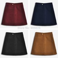 New Womens American Apparel AA Retro England Casual Style Corduroy A-Line Skirts Female High Waist Mini Saias Femininas 4 Color