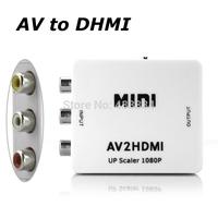 new AV 2 HDMI RCA/AV to HDMI Converter Adapter Mini Composite CVBS to HDMI AV2HDMI Converter 1080P