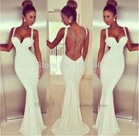 Wholesale Black White Vestidos De Festa Strap Backless Long Evening Dress Bodycon Mermaid Dress Maxi Fromal Party Dresses S-L