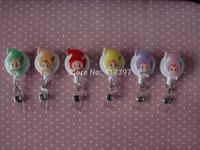 Cartoon Cute Littegirl Retractable ID Badge Reels With Resin 10pcs/lot