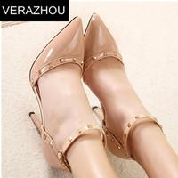 2015 Women pumps Foot ring belt High-heeled shoes Designer Vintage wedding shoes Platform Tip Mixed colors Rivet Sexy Brand