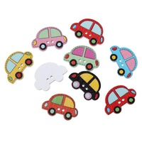Wood Sewing Button Scrapbooking Car At Random Two Holes 25.0mm x 17.0mm,100 PCs 2015 new