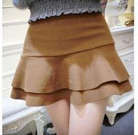 2015Women Fashion Empire Ruffles Mini Bud Skirts Lady Sexy Wool Mermaid Short Skirts 3337