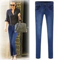 2014 New Autumn Winter Casual Elastic Slim Denim Pencil Long Design Women Jeans Mid Waist Hole Pants Stretch Skinny Trousers