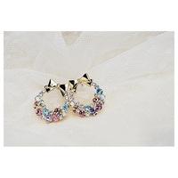 2014 New Fashion Imitation Diamond Colorful Rhinestone Bow Earrings E20 Vintage Jewelry Free Shipping $10