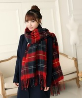 Classic Plaid Scarf Thicker Large Tassel Scarves England Autumn And Winter Vintage Ladies Scarves Wholesale Free Shipping