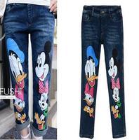 2015 new fashion jeans women Kimi Mouse cartoon loose jeans pantyhose