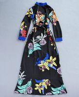 High quality 2015 runway fashion Brand vintage stand collar flower print slim formal full maxi long one piece dress S,M,L