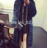2015 Ladies' Fashion Genuine Natural Piece Stripe Raccoon Fur Coat with mink fur ruched Autumn Outerwear O-Neck