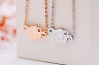Lambling rose gold necklace female short design pendant birthday gift