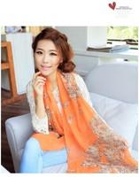 Fashion Leopard Scarf Orange Chiffon Scarves Women Gift Best Accessories