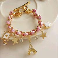 Ms. Hong Kong hot new Korean fashion flowers love poker stars Paris's Eiffel Tower Crown Leather Strap Bracelet free shipping