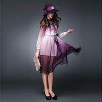 women new 2015 Spring fashion pullovers purple blue gradient ruffles faux two pieces elegant long dresses