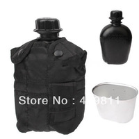 Good!3-in-1 1L US Army Military Outdoor Water Bottle Drinking Container with Canteen & Nylon Carrying Pouch (Black)