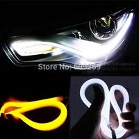 45CM LED DRL Flexible DRL Strip LED Daytime Running Light With Turn Signal LED Tube Light White Amber Switchback DRL AUDI STYLE